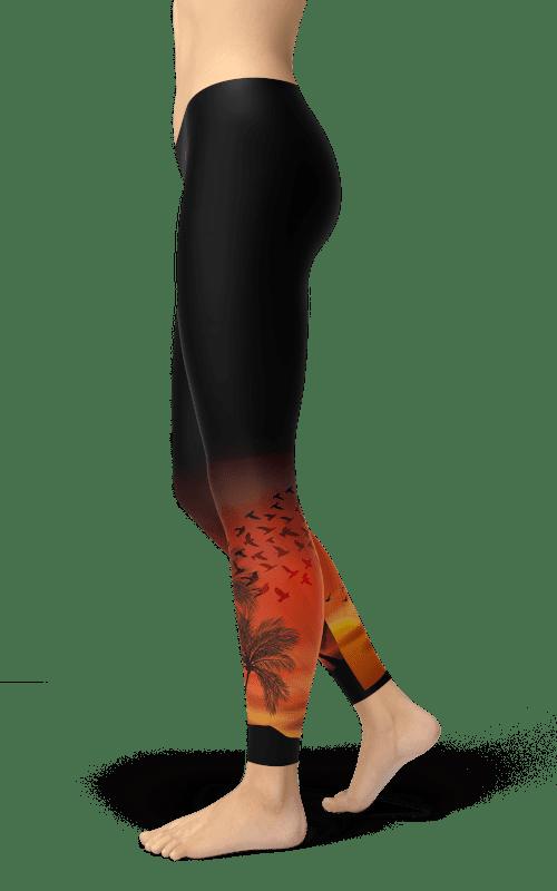 African sunset black leggings yoga gym fitness athleisure wear