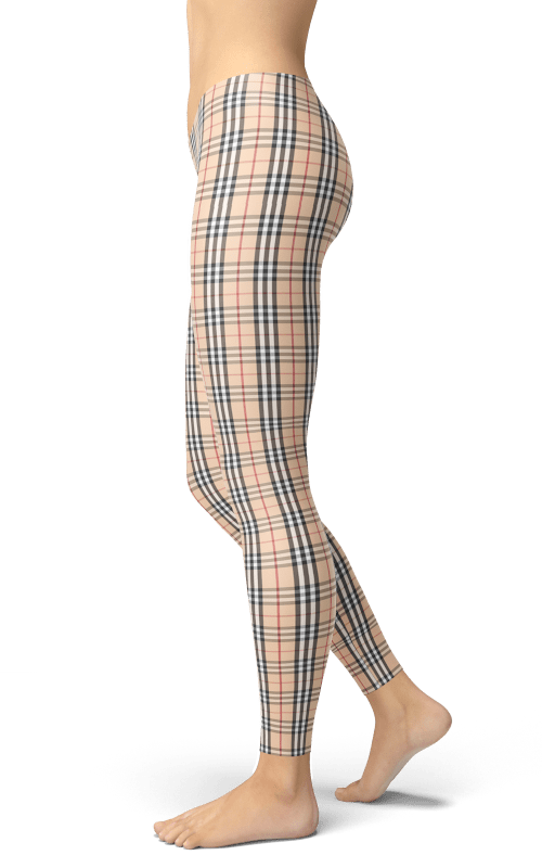 fb307cca0ac38 Burberry style tartan plaid leggings sport clothing gym and fitness wear  yoga pants