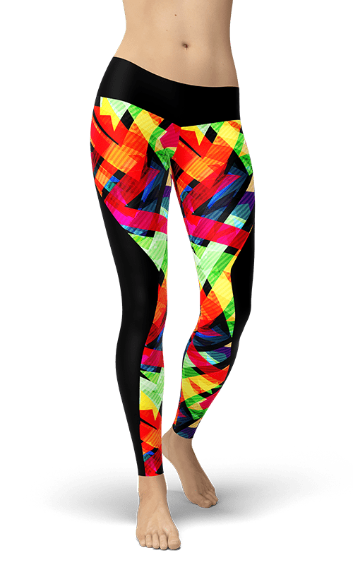 chaos shapes leggings colourful yoga pants athletic bottoms activewear gym tights fitness clothing athleisure