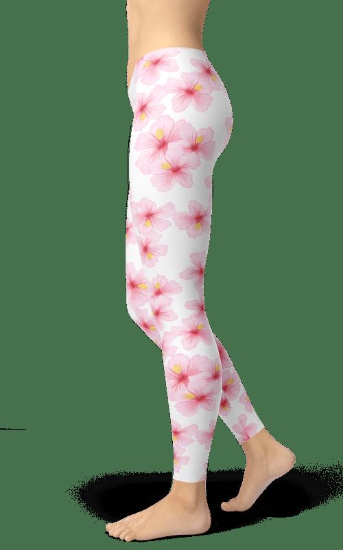 cherry blossom leggings white pink gym yoga fitness wear clothing