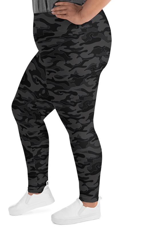 dark black Camo plus size leggings yoga pants athleisure activewear for women gym and fitness apparel camouflage