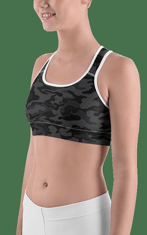 dark Camo sports bra moisture wicking yoga wear gym fitness apparel activewear