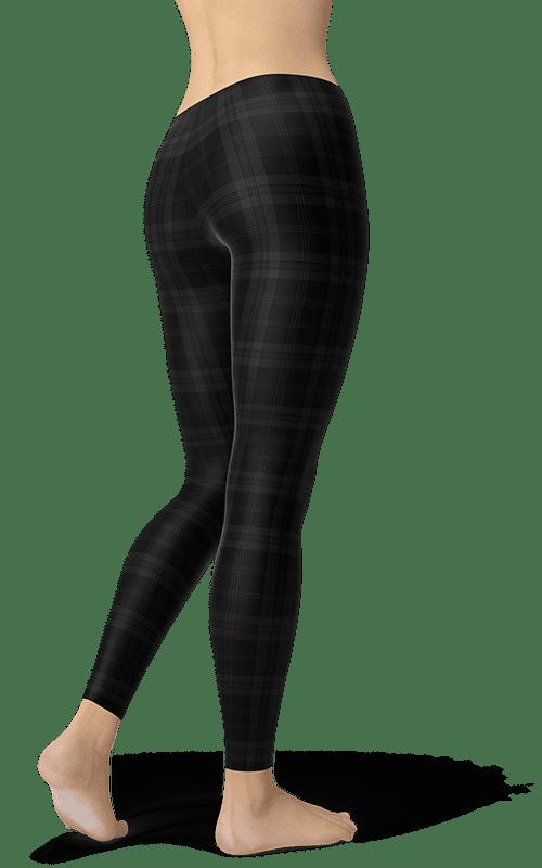 black dark Tartan plaid leggings gearbaron athleisure activewear sports gear women's bottoms yoga pants handmade gym and fitness apparel