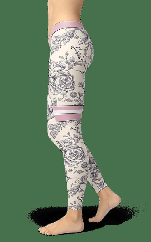 Birds Floral Print Plus Size Generous Fit Capri Legging