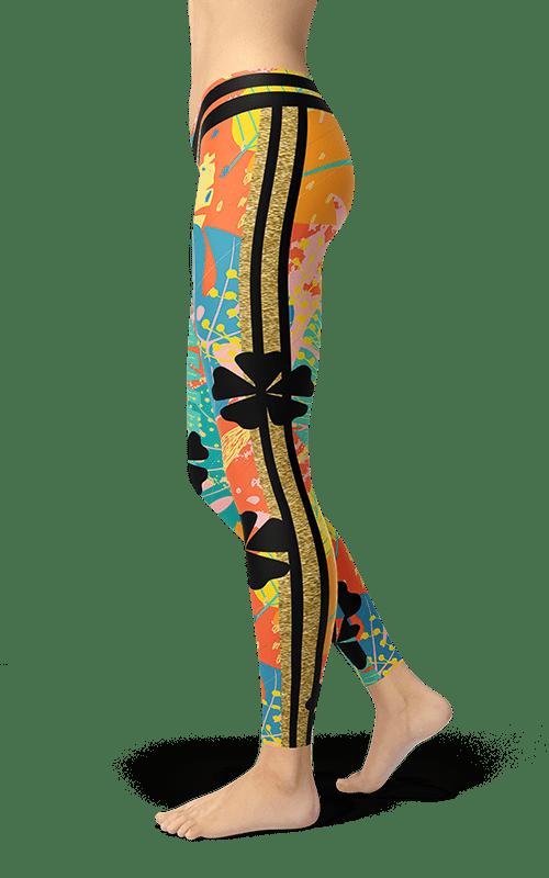 floral shamrock leggings yoga pants flower pattern activewear athleisure gym tights fitness wear