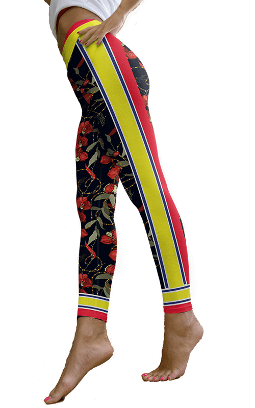 flower chain leggings yoga pants athletic bottoms activewear for women gym fitness athleisure
