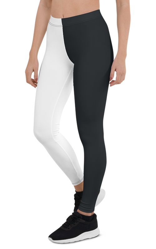 black white monochrome leggings gearbaron athleisure activewear sports gear women's bottoms yoga pants handmade gym and fitness apparel