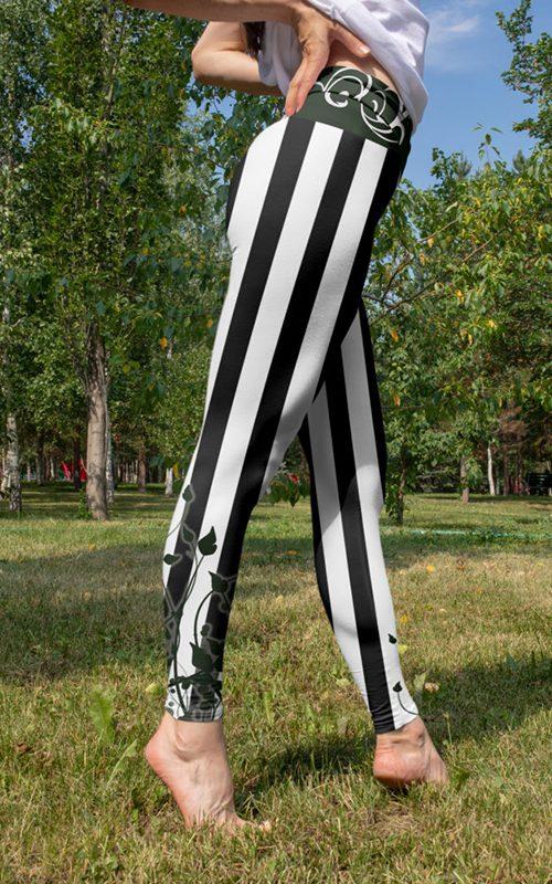 black and white stripes leggings striped unique squat proof super soft gym yoga pants