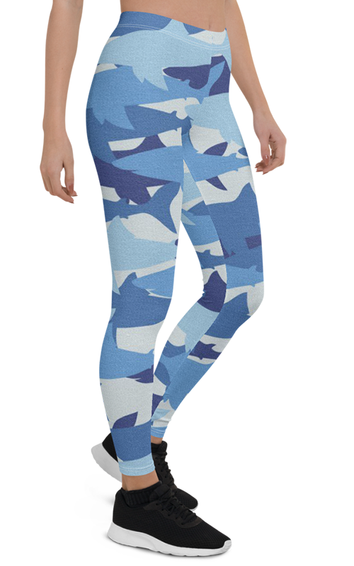blue sharks leggings gearbaron athleisure activewear sports gear women's bottoms yoga pants handmade gym and fitness apparel
