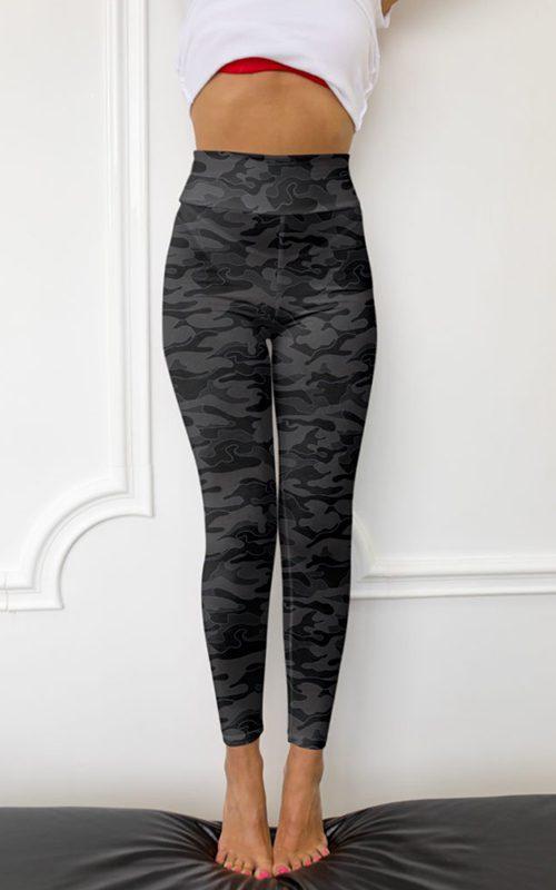 black dark camo camouflage leggings