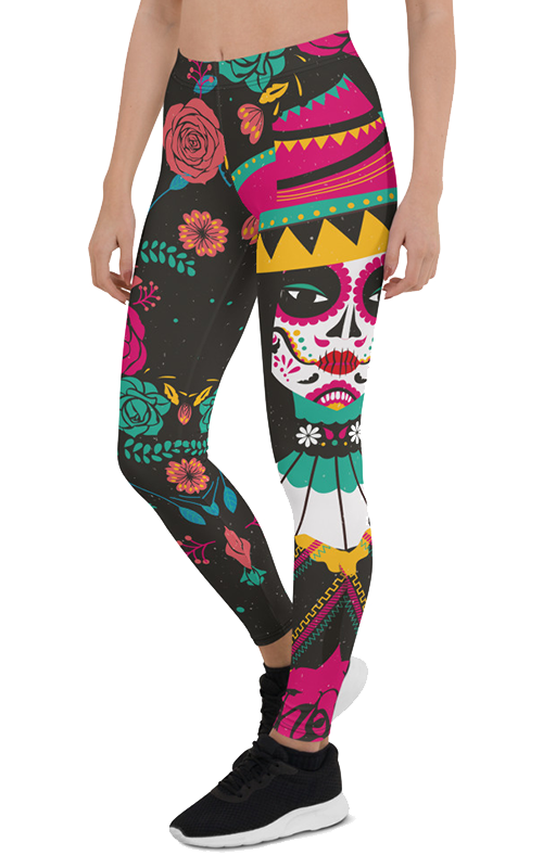 flower sombrero leggings gearbaron athleisure activewear sports gear women's bottoms yoga pants handmade gym and fitness apparel