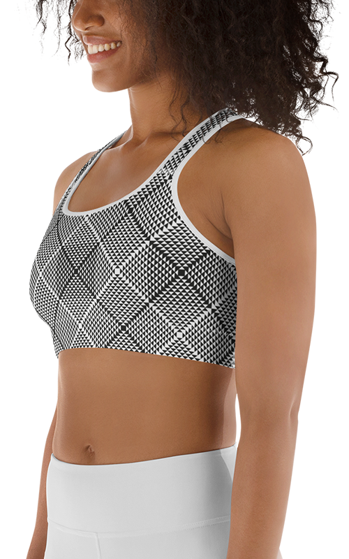 black and white optical illusions sports bra athleisure gym wear activewear fitness apparel women