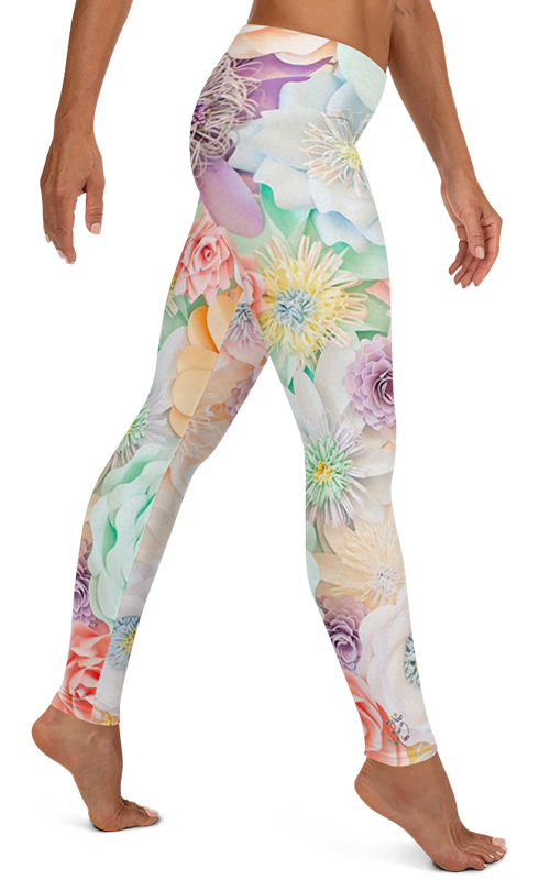 pastel flowers leggings gearbaron athleisure activewear sports gear women's bottoms yoga pants handmade gym and fitness apparel