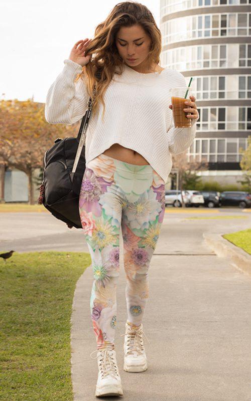 gearbaron leggings pastel flowers activewear for women yoga clothing