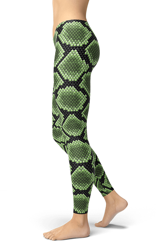 green snake leggings yoga pants gym tights fitness wear athleisure activewear athletic bottoms