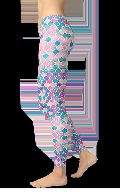 mermaid mosaic leggings gearbaron athleisure activewear sports gear women's bottoms yoga pants handmade gym and fitness apparel