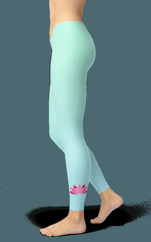 Mint 2 Azure Lotus Leggings Gym Fitness Sports Clothing Gearbaron