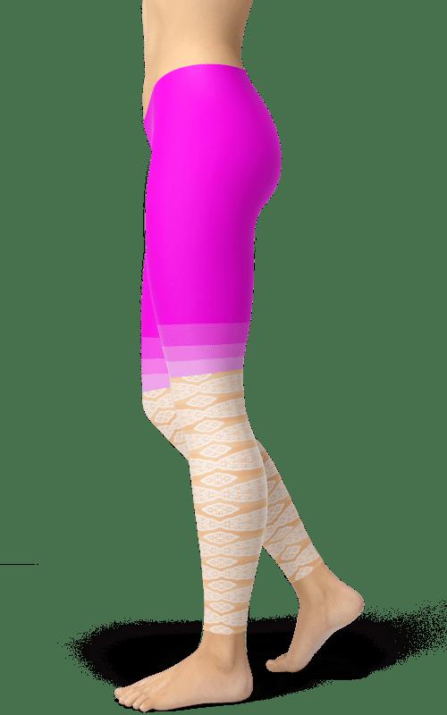 pink cream leggings yoga pants for women squat proof