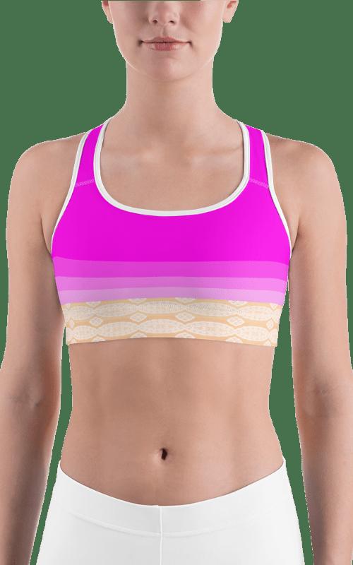 pink cream sports bra sports wear