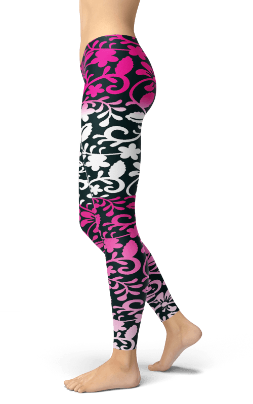 pink flower ornament leggings sports and gym wear athleisure style leggings