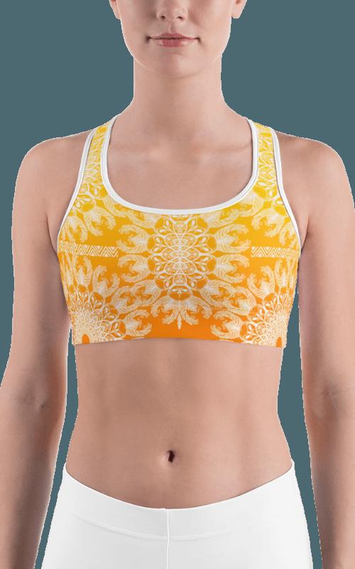 sunrise mandala sports bra yellow orange fitness gym wear