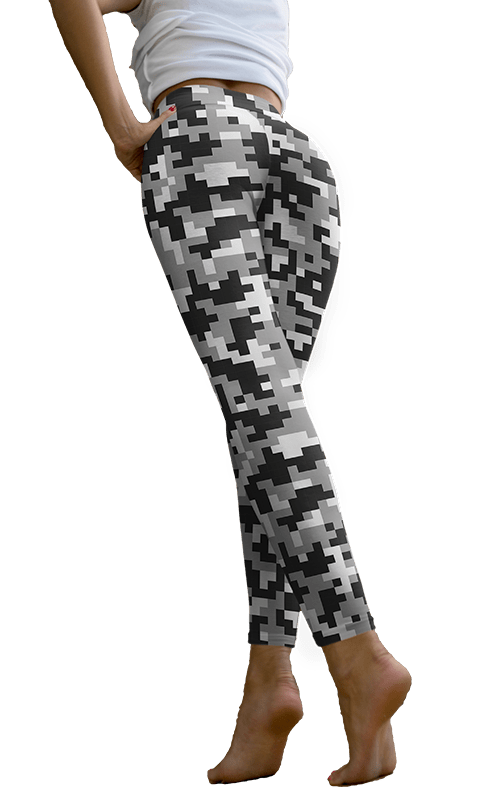 white and black pixel Camo leggings camouflage yoga pants athleisure activewear gym and fitness apparel