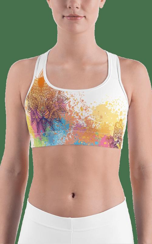 white mandala sports bra gym fitness yoga clothing sports wear
